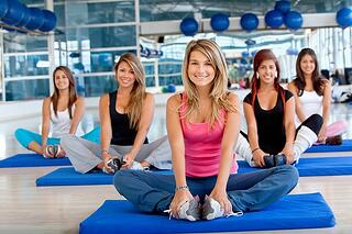 Group of women in a pilates class